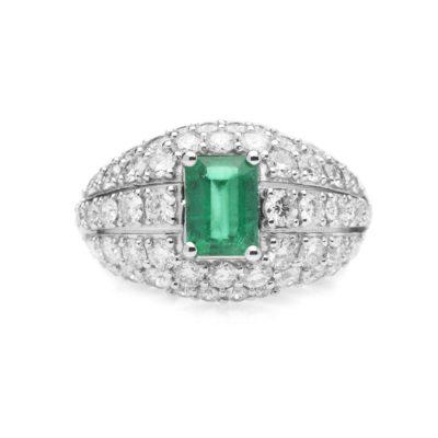 ASM Anello oro 18kt brillanti e smeraldo