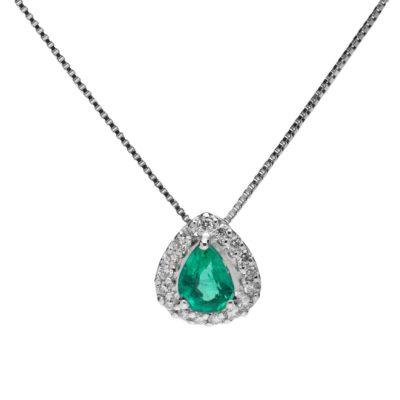 CGS Girocollo oro 18kt brillanti e smeraldo