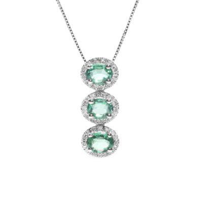 CTRYL S Girocollo oro 18kt brillanti e smeraldi