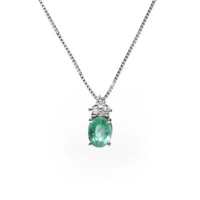 PF 2 S Girocollo oro 18kt brillanti e smeraldo